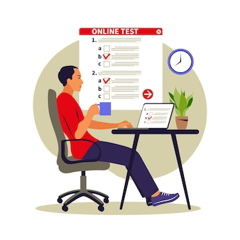 Test de concept en ligne, e-learning, examen sur ordinateur. illustration vectorielle. appartement