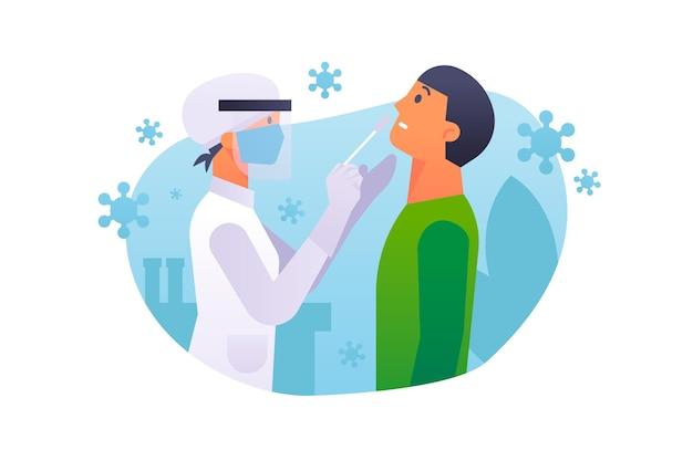 Test d'écouvillonnage nasal avec un médecin