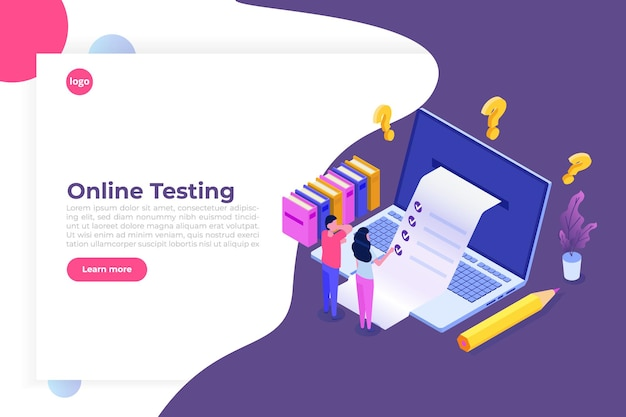 Test en ligne, e-learning, concept isométrique de l'éducation.