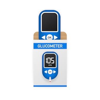Test de niveau du lecteur de glycémie. glucomètre du diabète. élément de bannière web graphique concept abstrait.