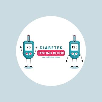Test sanguin de diabète design plat