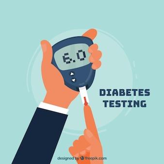 Test sanguin de diabète avec un design plat