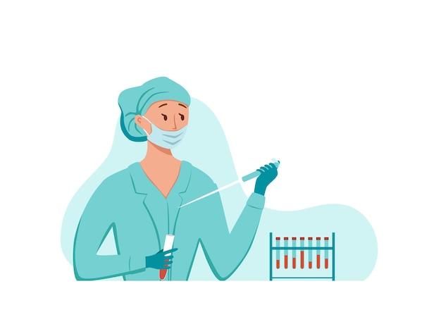 Test sanguin laboratoire médical diagnostic recherche illustration vectorielle.