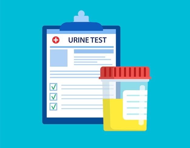 Test d'urine pot en plastique et liste de formulaires d'analyse de laboratoire médical avec données de résultats.