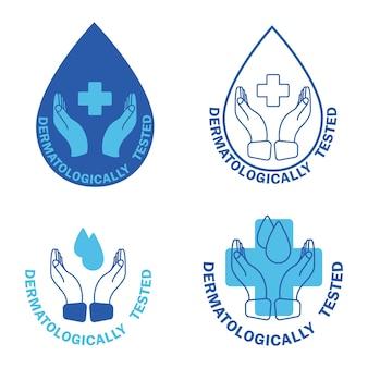 Testé dermatologiquement, étiquette avec goutte d'eau et croix. test dermatologique et icône cliniquement prouvée par les dermatologues pour un produit sain et sans allergie. cliniquement prouvé, icônes. vecteur