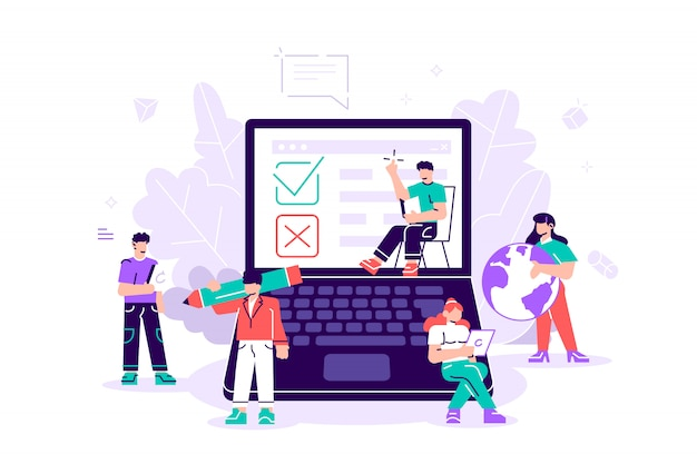 Tester. illustration de sondage en ligne pour bannière web, impression, infographie, vote en ligne, concept de technologie de sondage en ligne avec des personnes et un ordinateur portable avec liste de contrôle. oui non liste