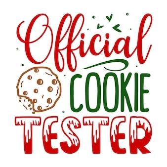 Testeur de cookies officiel lettrage premium vector design