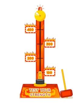 Testeur de force. testez votre jeu d'amusement de force. puissance et force, divertissement et festival.