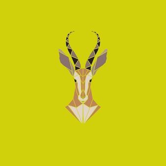 Tête abstraite de signe de vecteur d'antilope africaine