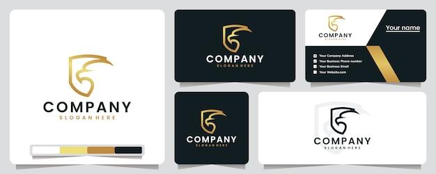 Tête d'aigle, couleur dorée, luxe, bouclier, inspiration de conception de logo