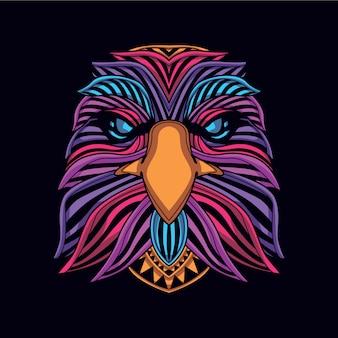 Tête d'aigle de couleur néon lueur