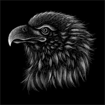 La tête d'aigle dessine.