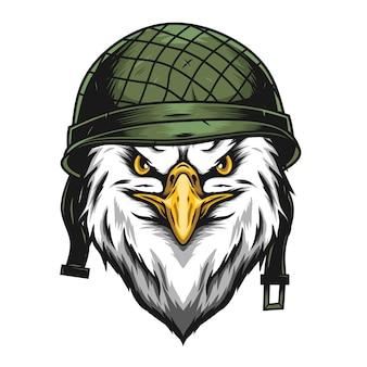 Tête d'aigle avec illustration de casque militaire