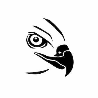 Tête aigle logo tatouage conception pochoir illustration vectorielle