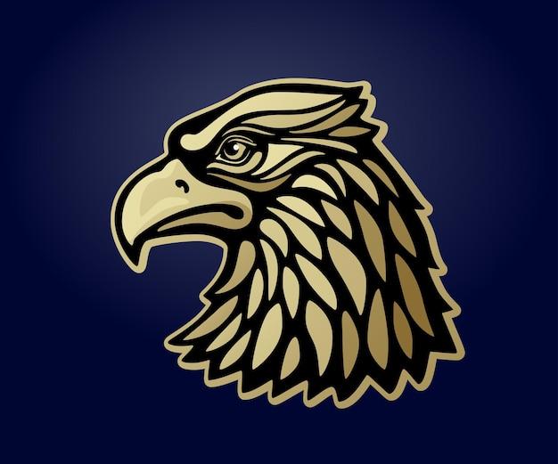 Tête d'aigle msacot isolé sur fond sombre. illustration