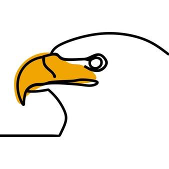 Tête d'aigle oneline ligne continue art vecteur premium