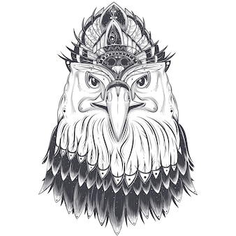 Tête d'aigle avec peigne à plumes