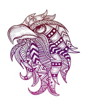 Tête d'aigle avec style mandala