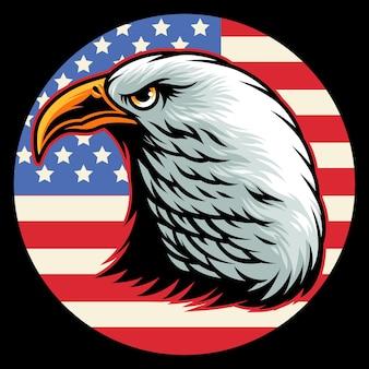Tête d'aigle à tête blanche et cercle de drapeau américain