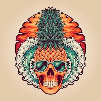 Tête d'ananas crâne d'été