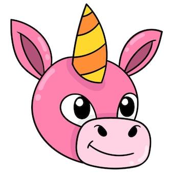 Tête d'âne à cornes rose, émoticône de carton d'illustration vectorielle. dessin d'icône de griffonnage