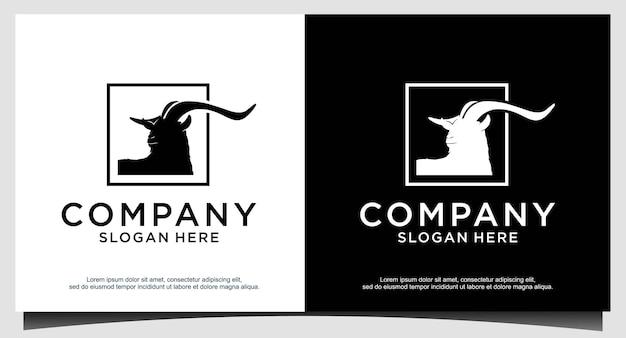 Tête d'animal - chèvre - vector logo icône illustration mascotte