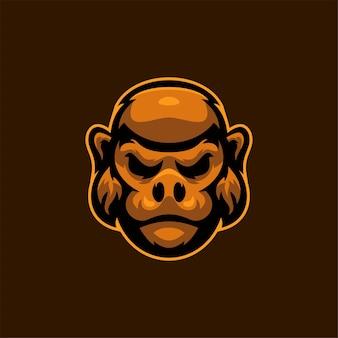 Tête d'animal gorille dessin animé logo modèle illustration esport logo jeu premium vecteur