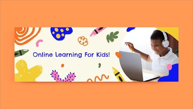 En-tête d'apprentissage en ligne créatif et enfantin pour les enfants