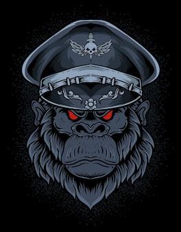Tête d'armée de gorille d'illustration sur la surface noire
