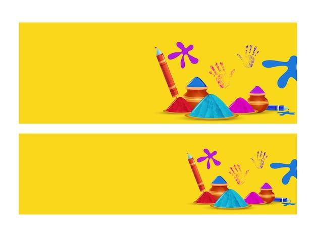 En-tête ou bannière de site web jaune avec poudre (gulal) dans la plaque