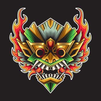 Tête de barong avec illustration de feu