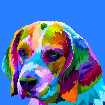 Tête beagle colorée