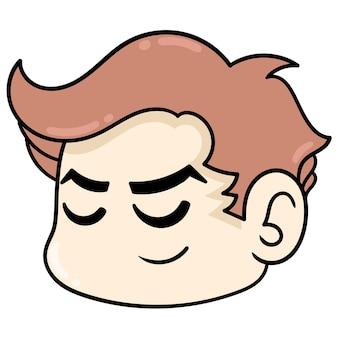 La tête d'un beau visage endormi ferme les yeux, émoticône de carton d'illustration vectorielle. dessin d'icône de griffonnage