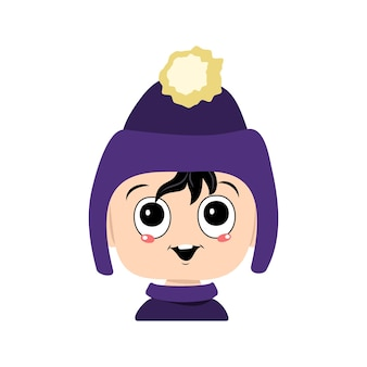Tête de bébé adorable avec avatar d'émotions heureuses d'un enfant aux grands yeux et un large sourire dans une viole...