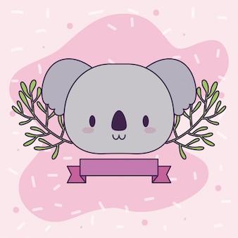 Tête de bébé koala kawaii avec décor