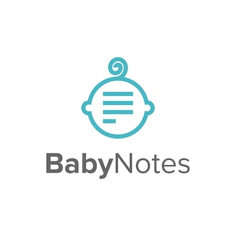 Tête bébé et notes conception de logo moderne géométrique créatif simple et élégant