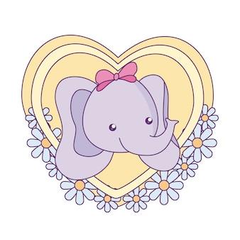 Tête de bébé petit éléphant mignon dans le coeur
