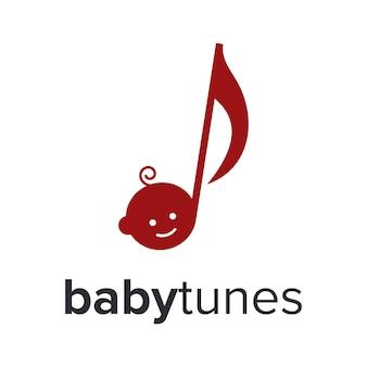 Tête bébé sourire heureux avec ton note vecteur de conception de logo moderne simple