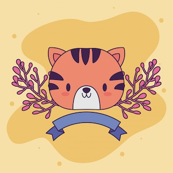 Tête de bébé tigre kawaii avec décor