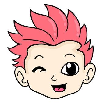 La tête d'un bel homme aux cheveux rouges avec un visage souriant, émoticône de carton d'illustration vectorielle. dessin d'icône de griffonnage