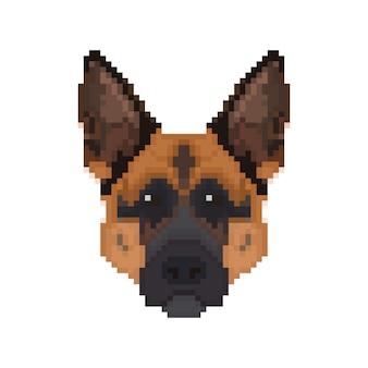 Tête de berger allemand dans le style pixel art.