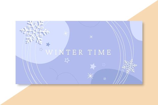 En-tête de blog hiver bleu dessiné à la main
