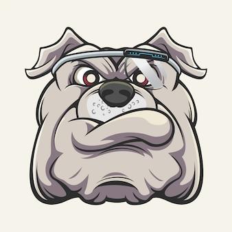 Tête de bulldog cyborg