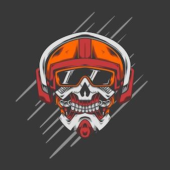 Tête de casque de robot de crâne