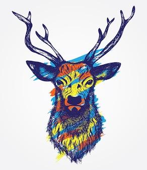 Tête de cerf coloré illustration dessinée à la main