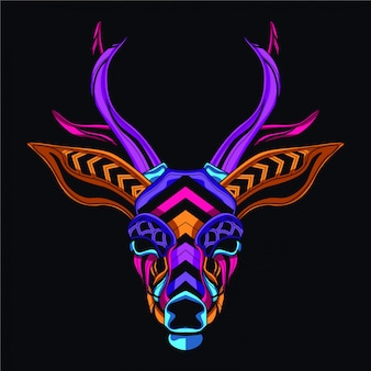 Tête de cerf dans le style de couleur lueur
