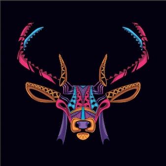 Tête de cerf décorative sur couleur néon lueur