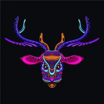 Tête de cerf décorative de couleur néon
