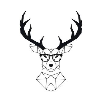 Tête de cerf géométrique abstraite dans un style polygonal