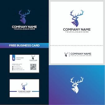 Tête de cerf logo et modèle de concept de conception de carte de visite